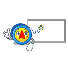 Thumbs up with board yoyo character cartoon style vector