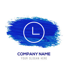 Time clock icon - blue watercolor background vector