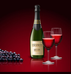 two wineglass champagne with bottle and grapes vector image