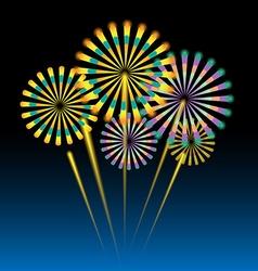 Beautiful fireworks on dark blue vector image