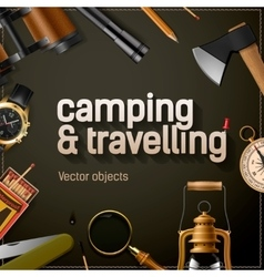Camping and travelling template vector image