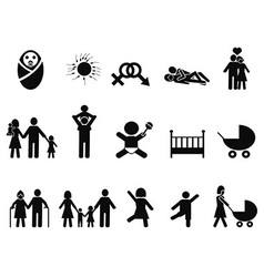 family life icons set vector image vector image