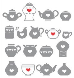 grey kitchen pots vector image