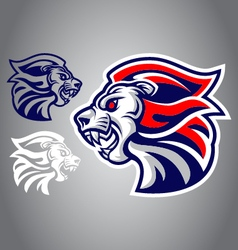 Lion blue red logo vector