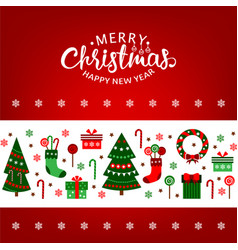 merry christmas greeting card with xmas vector image