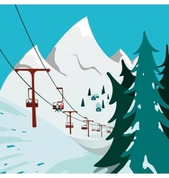 Ski Lift in the mountains vector image vector image