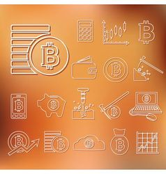 bitcoin outline icons vector image vector image