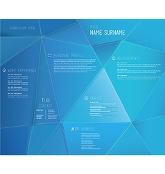 Creative cv template with 3d effect on blue vector