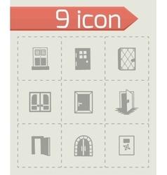 Door icon set vector