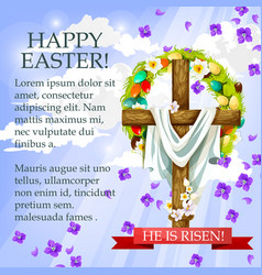 easter cross with flowers cartoon festive poster vector image