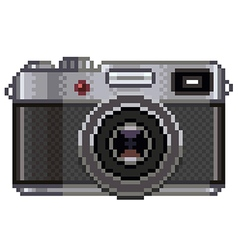 Pixel retro photo camera isolated vector image