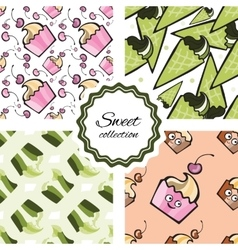 Seamless pattern with hand drawn cupcake and vector