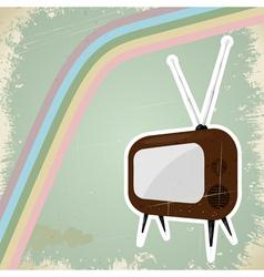 Vintage TV postcard vector image