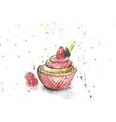 watercolors cupcake vector image
