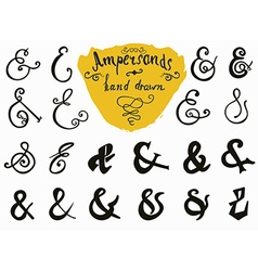 Ampersands and Catchwords hand drawn set for Logo vector image vector image
