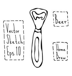Beer bottle opener doodle style sketch hand vector