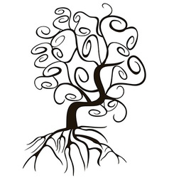 doodle style swirl tree vector image vector image