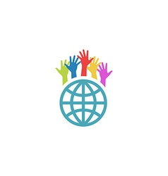 Globe and colorful hands up mockup volunteer vector image