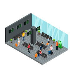 isometric airport departure lounge concept vector image