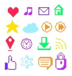Pixel icons for social networks vector image