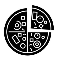 pizza icon black sign on vector image