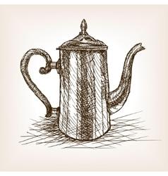 Tea pot vintage hand drawn sketch style vector image