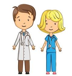 Cartoon doctor and nurse vector image