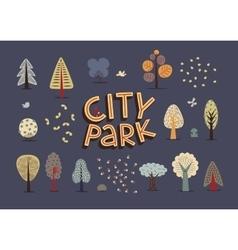 City park set dark vector
