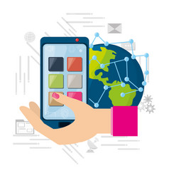 hand using smartphone connected internet around vector image vector image