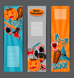 happy halloween banners with cartoon holiday vector image vector image