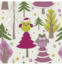 owl christmas background vector image vector image