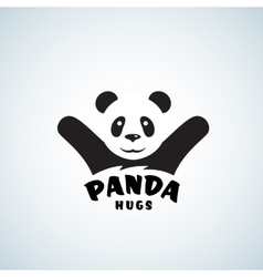 Panda Hugs Abstract Emblem or Logo Template vector image vector image