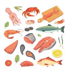 seafood set flat fresh fish vector image