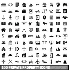 100 private property icons set simple style vector image