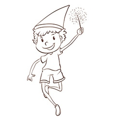 A plain drawing of a boy celebrating vector