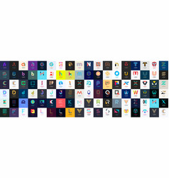 abstract logos mega collection with letters vector image
