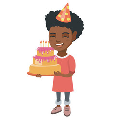 african child holding birthday cake with candles vector image