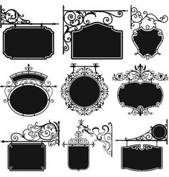Antique hanging wrought iron sign board vector