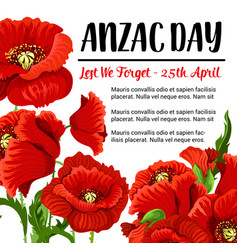 Anzac day remembrance card red poppy design vector