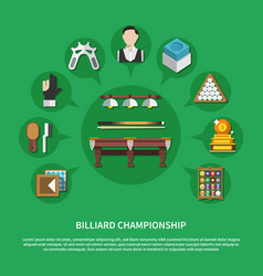 Billiard championship flat composition vector