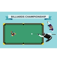 Billiards flat pool game accessories vector
