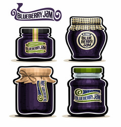 Blueberry jam in glass jars vector