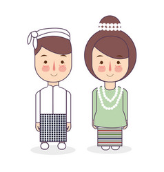 burmese couple traditional national clothes of vector image