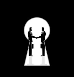 businessmen shaking hands seen through a keyhole vector image