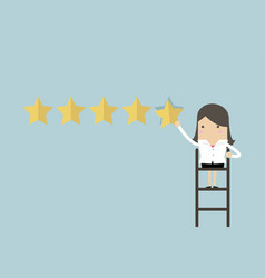 businesswoman giving five star rating vector image