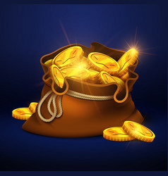 Cartoon big old bag with gold coins cash prize vector