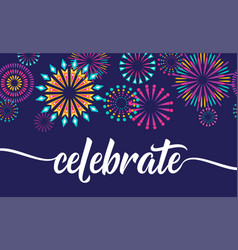 Celebrate background with fireworks border vector