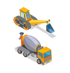Cement mixer and excavator industrial machinery vector