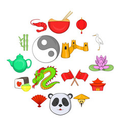 china icons set cartoon style vector image