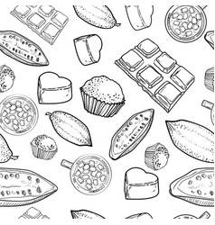 chocolate pattern of hand drawing vector image